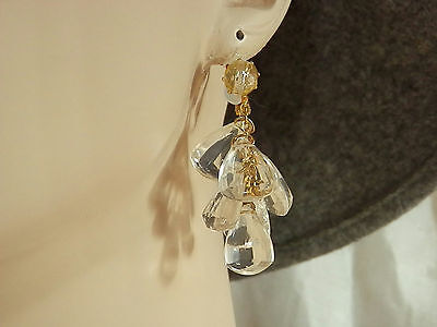 Showy & Pretty Vintage 1960s Clear Lucite Dangle Earrings  604L