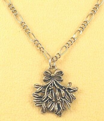 Pewter Mistletoe Charm on a Silver Tone Figaro Chain Necklace - 5327