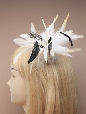 Pack Of 3 Feather Fascinators Of Forked Clip / Brooch Pin : Wholesale / Wedding
