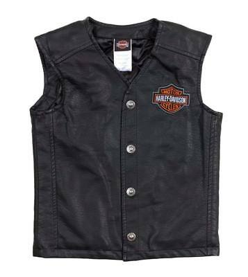 Harley-Davidson Little Boys' Bar & Shield PU Pleather Biker Vest 0276072