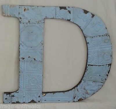 "Large Antique Tin Ceiling Wrapped 16"" Letter 'D' Patchwork Metal Chic Blue"