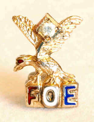 Enameled And Bejeweled Sterling Silver Fraternal Order Of Eagles Foe Pin