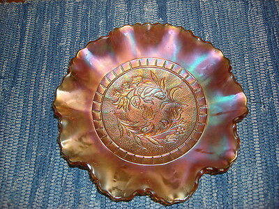 Antique Dugan Carnival Glass Bowl WINDFLOWER, Marigold Color, 8 3/4""