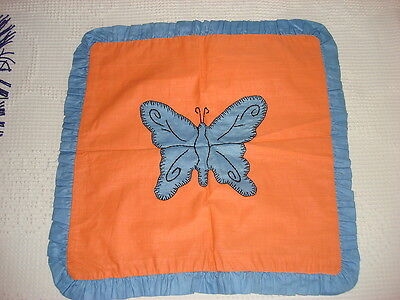 Antique APPLIQUE PILLOW COVER Blue Butterfly on Orange