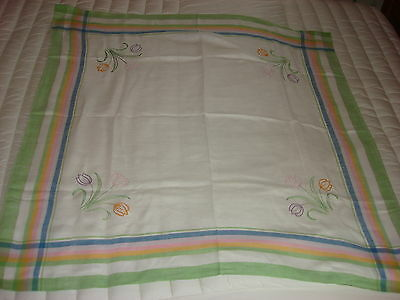 "Vintage Linen Embroidered Tablecloth TULIPS, PASTEL PLAID BORDER 40""x42"""