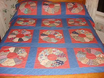"Antique Quilt DRESDEN PLATE Pink & Blue, Multi-Color Plates,Hand Quilted 82""x96"""