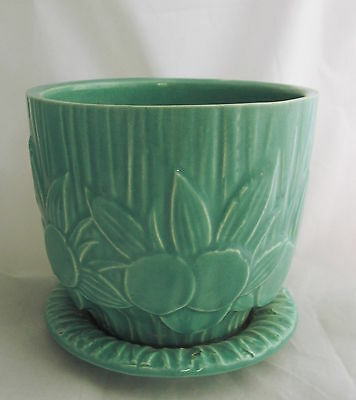 Vintage McCoy Art Pottery Aqua Blue Sand Dollar Planter Pot w/Attached Saucer