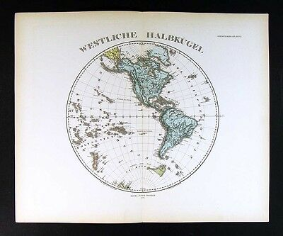 1876 Steiler Map  Western Hemisphere - North South America United States - World