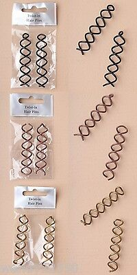 Pack Of 6 Pairs Of Twist In Hair Pins / Spirals / Coils - Choose Colour - Sp-