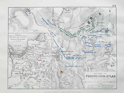 Battle Plan of PREUSSISCH-EYLAU EYLAU 1807 Napoleonic Wars JOHNSTON 1866