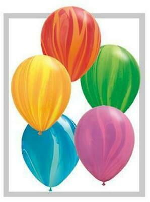 "20 x Qualatex SuperAgate Marbled 11"" Latex Balloons - You Choose The Colour"
