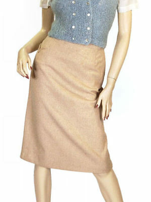 Vintage Pencil Skirt Camel Colored Heathered Cashmere 1940S Sz 2-4