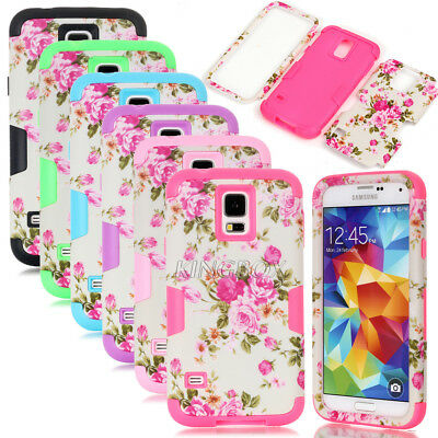 Peony Flower Dual Layer Hybrid Shockproof Matte Cases For Samsung Galaxy S4 S5