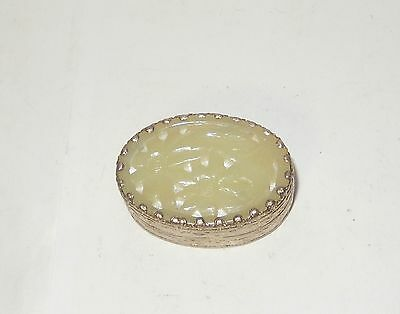 Chinese Carved White Jade Silver Plated Metal Trinket Pill Snuff Jar Box