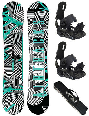 Snowboard Set AIRTRACKS Croud Rocker+Bindung Savage+SB Bag / 155 159 163 165 cm/