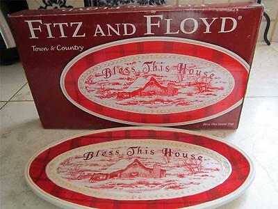 NEW IN BOX FITZ AND FLOYD CHRISTMAS CANAPE BLESS THIS HOUSE  PLATE