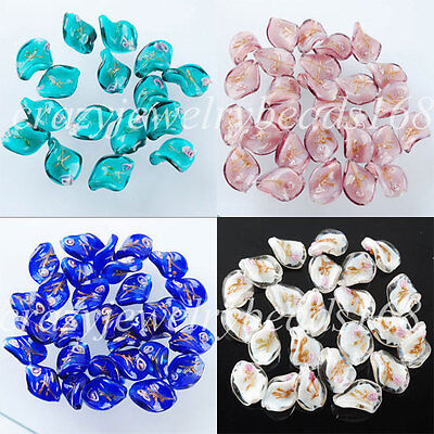 Free shipping Lampwork Glass Leaf Spacer 20x15MM Loose Beads Jewelry BW004