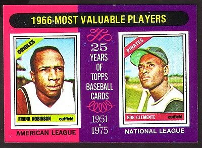 1975 TOPPS MINI 1966 MOST VALUABLE PLAYERS CARD NO:204 NEAR MINT