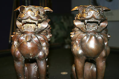 Pair of Vintage Bronze Antique Chinese Foo Dogs Temple Lions