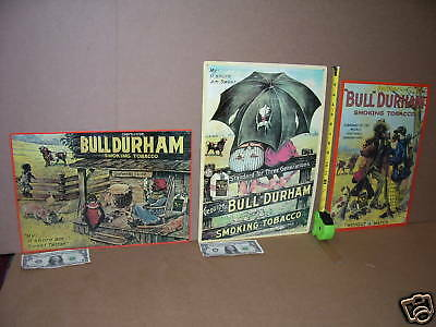 3 TOBACCO Metal Signs --  COMPLETE SET  -- BULL DURHAM from NORTH CAROLINA - WOW