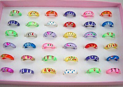 15pcs Wholesale Lots Mixed Style Thin Little Resin Lucite Children's Kids Rings