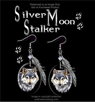Silver Moon Stalker Wolf Earrings Wolves Western Wildlife Art Free Ship  #hk*