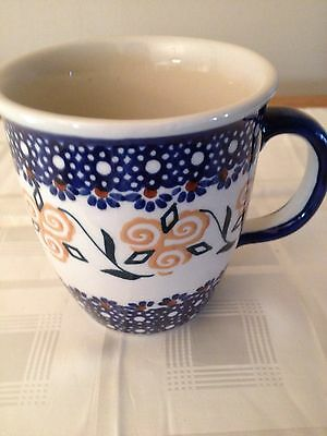 Polish Pottery  Coffee or Tea Cup. 10 oz.  Hand Painted.  •NEW•