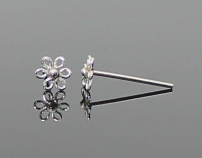 REAL SOLID 925 STERLING SILVER 4mm FLOWER NOSE PIERCING STUD BONE STRAIGHT PIN