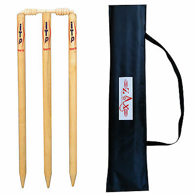 Wooden Cricket Wickets Stumps / Wickets Bails Natural Color with Bag Adults