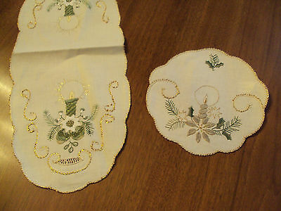 Set of 2 SWEDISH Candle Design Centerpiece and Matching Doily