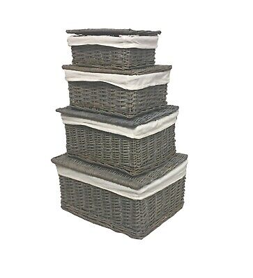 Grey Wicker Or Tapered Baby Nursery Storage Basket Chest Trunk Toy Blanket Box