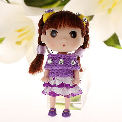 Lovely Purple Ddung Doll Cell Phone Backpack Ornaments Keychain Girls Gift A10