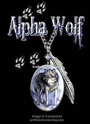 """ALPHA WOLF NECKLACE for MALE or FEMALE - ART WOLVES JEWELRY FREE SHIP #C24"""" *"""