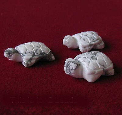 HAND CARVED! Two White HOWLITE TURTLE Beads 9280HL