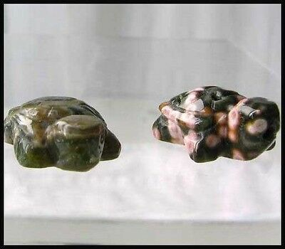 UNIQUE!! Two Carved OCEAN Jasper TURTLE Beads 7271