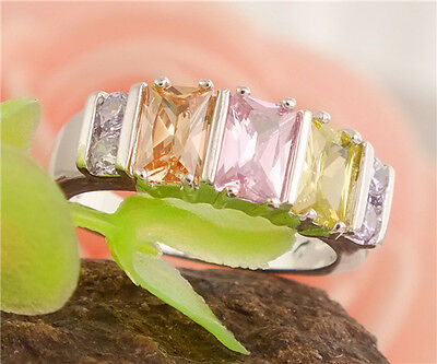 Charming 1pc 925 Sterling Silver Colorful Gemstone Pretty Nice Ring Size 6