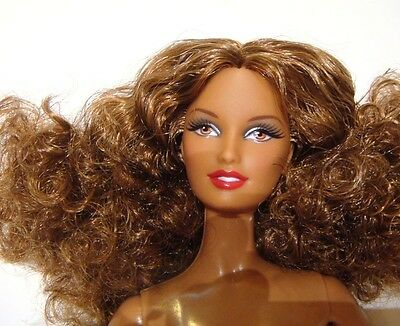 Nude Barbie Long Curly Afro Hair Model Muse Doll mn17