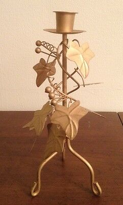 Handcrafted Metal Ivy Holly Berries Brass Candle Holder