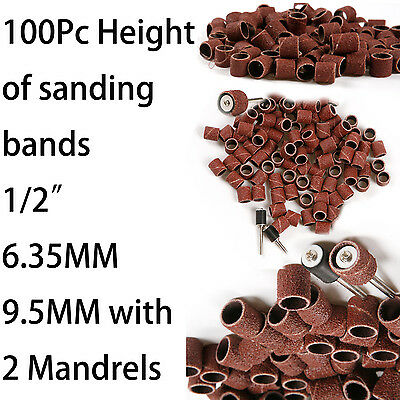 "100x 80 Grit 1/2"" Height Sanding Bands Sleeve + 2x Drum Mandrel For Rotary Tool"