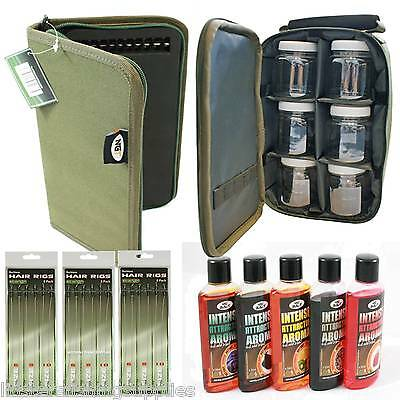 CARP FISHING 6 GLUG POTS + BAG + NGT RIG WALLET + 18 Hair Rigs + 5 Additives