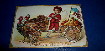 "Germany ANTIQUE 5 1/2"" POSTCARD~THANKSGIVING GREETINGS~Embossed/Glitter~Turkeys"