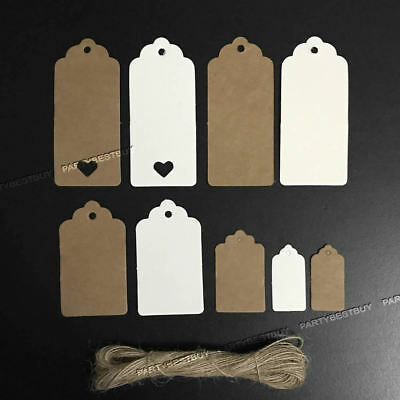 100pc 9CM*4CM Gift Kraft Tags Label Scallop Christmas/Wedding/Gift/Luggage/Price