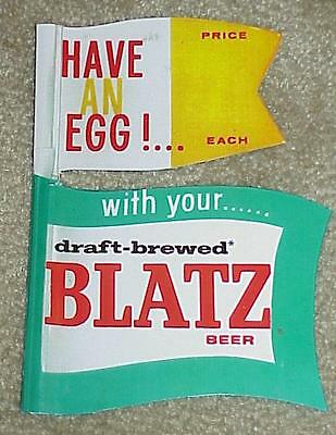 BLATZ BEER Egg Roller STATUE Dual FLAGS Have An Egg FLAG MILWAUKEE