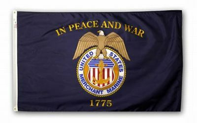 5x8 ft US MERCHANT MARINE IN PEACE AND WAR 1775 OFFICIAL INSIGNIA FLAG USA MADE