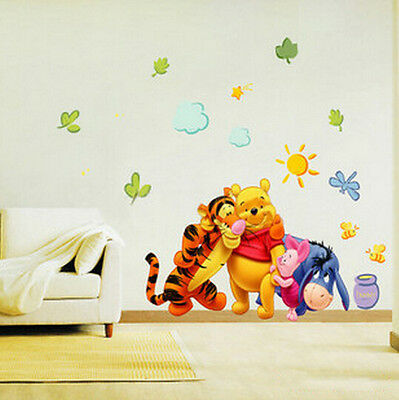 Enviromental Winnie the Pooh Leaf Art Wall Decal Decor Room Stickers Mural Home