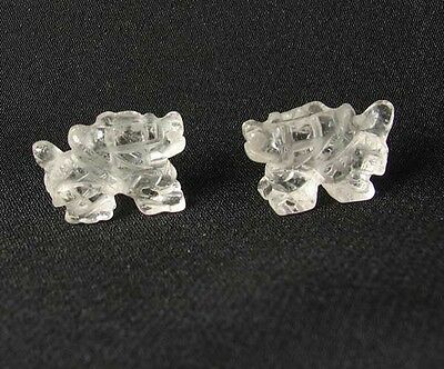 POWERFUL! 2 Carved Quartz WINGED DRAGON Beads 009286QZ