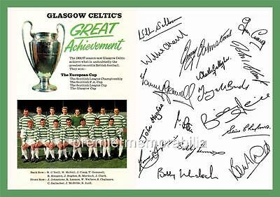 CELTIC FC 1967 EUROPEAN CUP FINAL SIGNED (PRINTED)x16 JOCK STEIN JIMMY JOHNSTONE