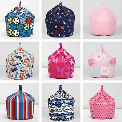 Girls Boys Childrens Kids 100% Cotton Seat Chair Beanbag Bean Bag With Filling