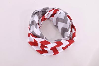 Baby TODDLER Child Girls Red Gray Handmade Stripe Loop Circle Infinity Scarf