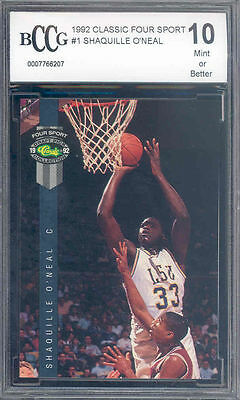 1992 classic four sport #1 SHAQUILLE O'NEAL rookie BGS BCCG 10